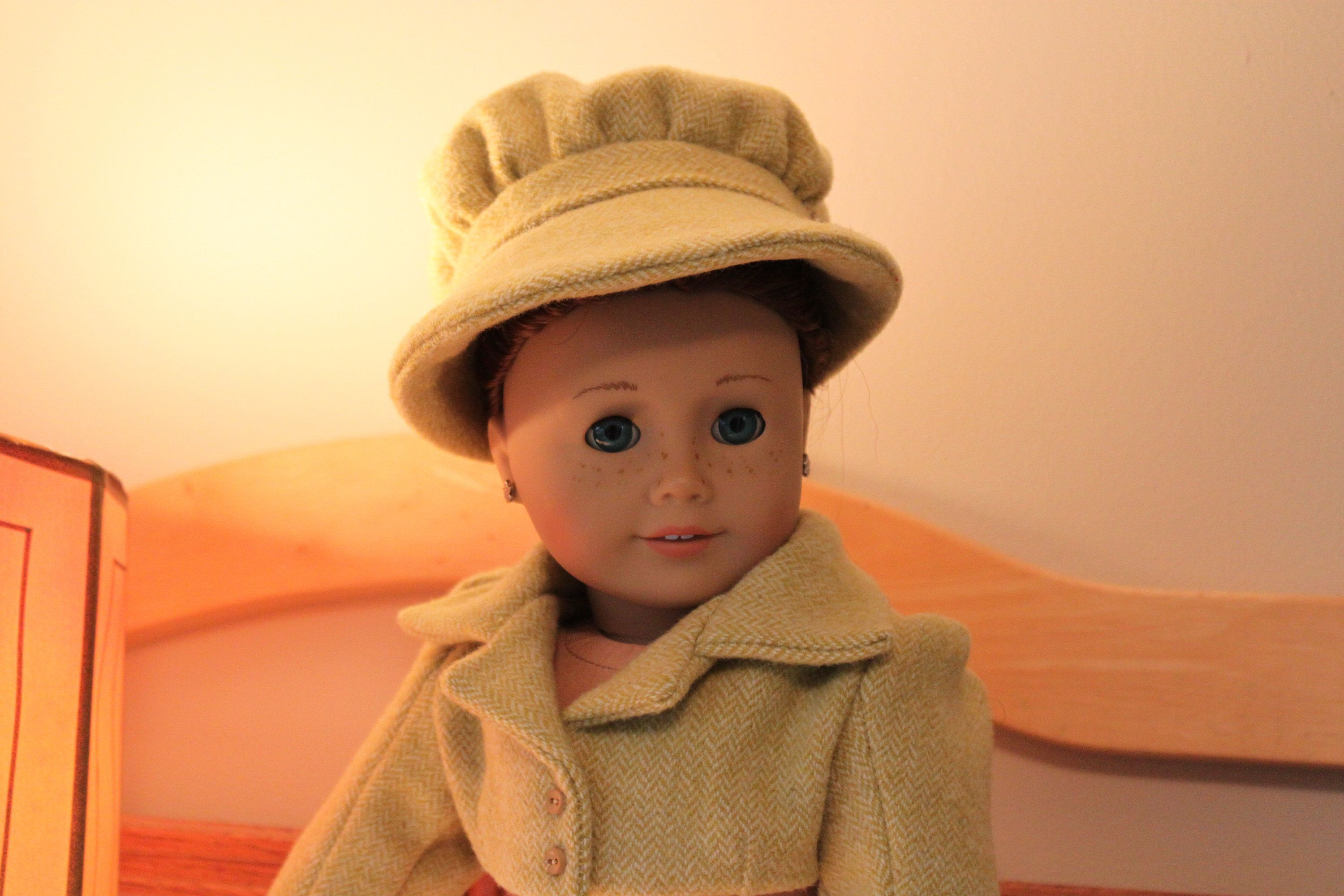 Regency Bonnet in Wool.  Match to Spencer Jacket!  Fits 18 Inch Dolls #18inchdollsandclothes