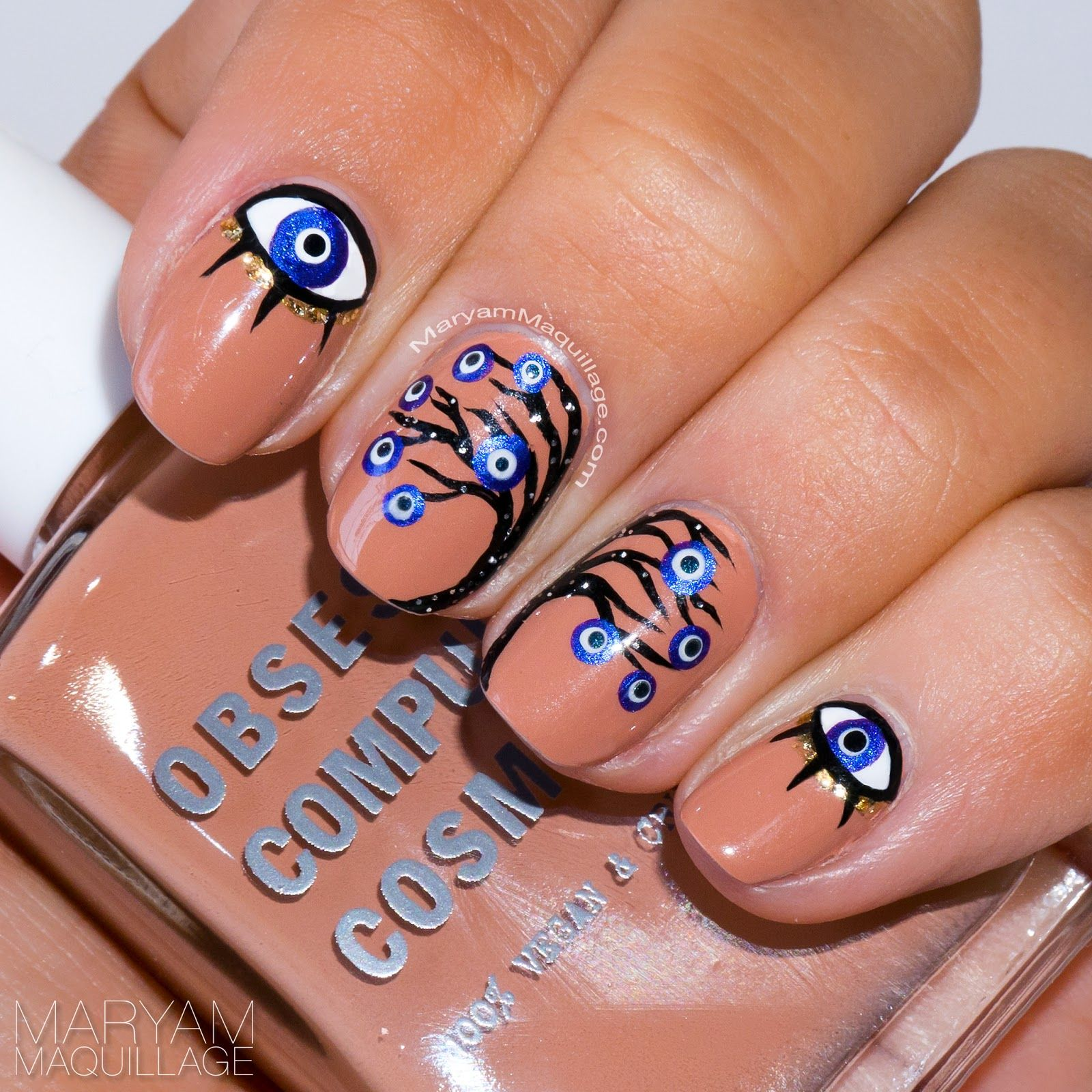 my hand-painted evil eye nail art | My NailArt & Design | Pinterest ...
