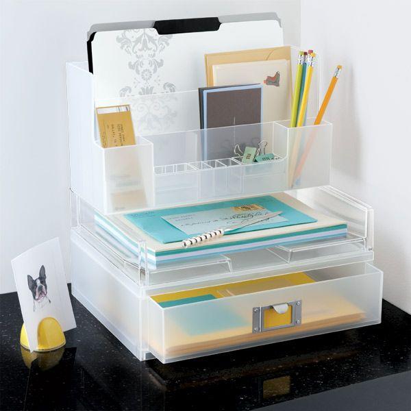 Superb The Container Store U003e Landscape Paper Drawer, Landscape Letter Tray, And  Large Desktop Station Stacked