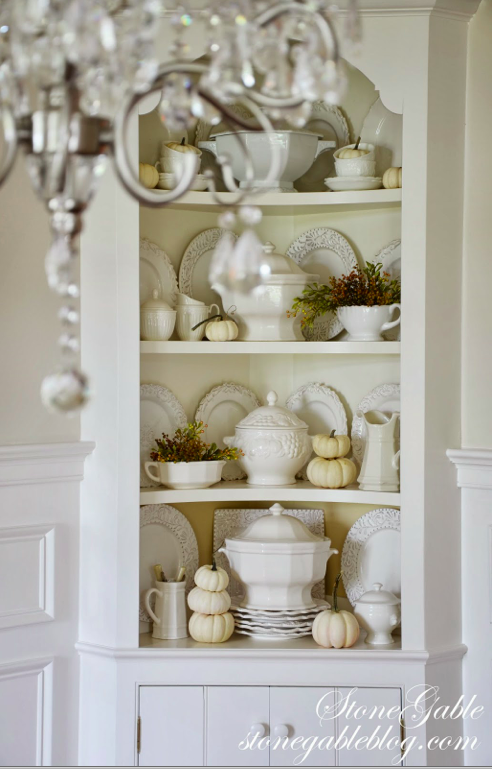 White Pumpkins Fall Decor Http Mysoulfulhome Corner Cabinet Dining Room