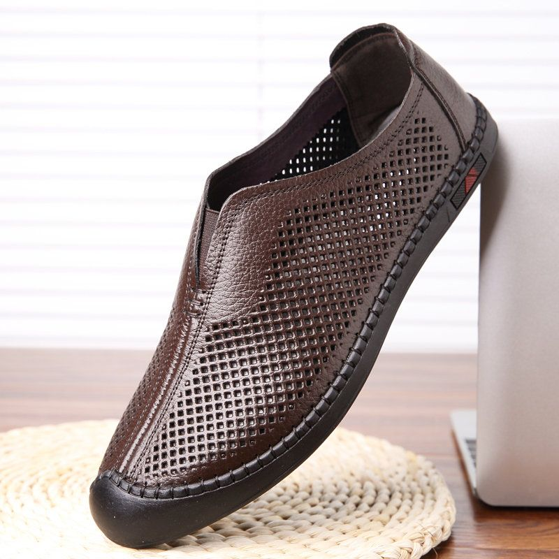 Men Microfiber Leather Hole Breathable Anti-collision Casual Shoes