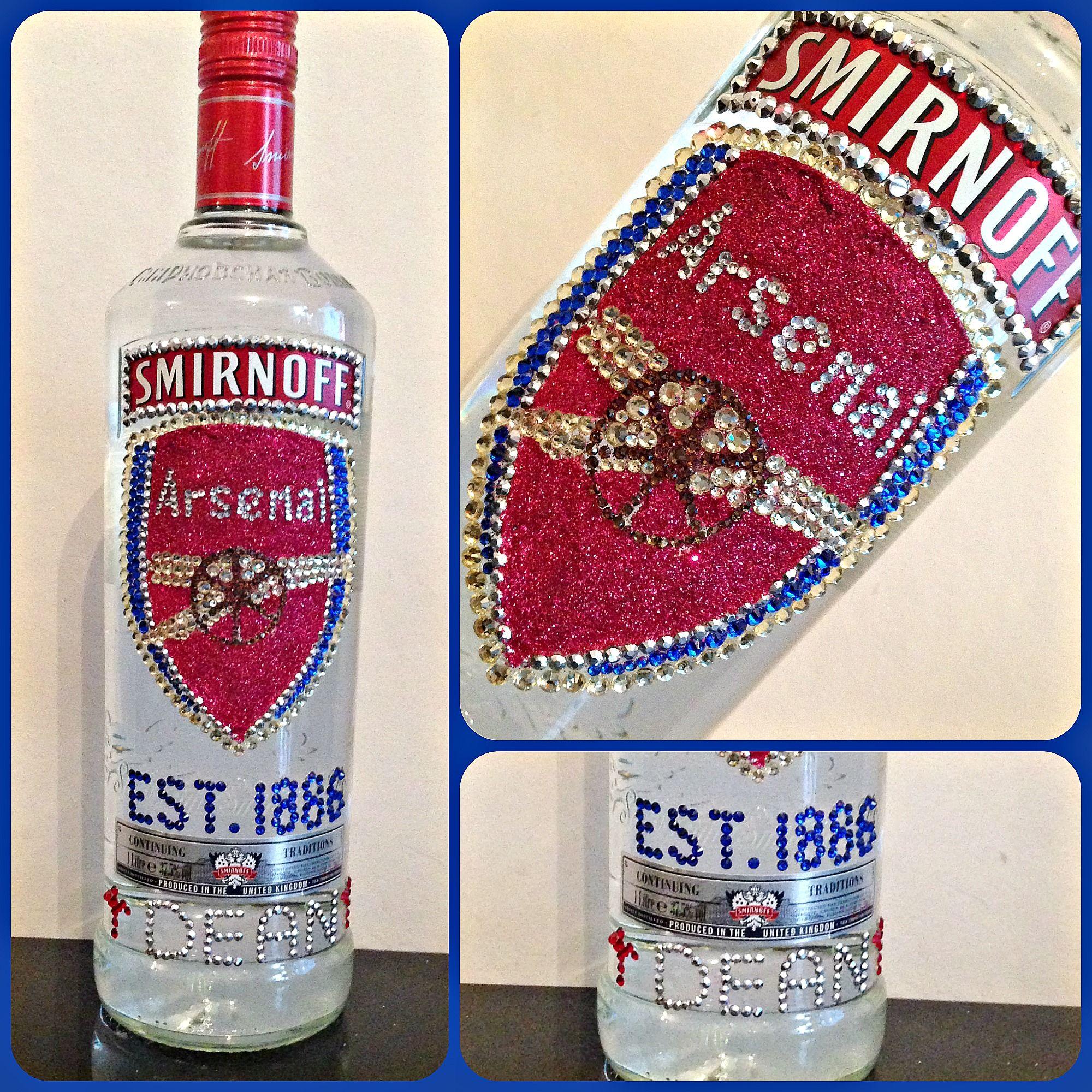 Smirnoff Vodka Bottle Decorated With Various Coloured Crystals And Glitter Arsenal Badge On Bottle Made For Dean Bling Bottles Bottle Crafts Bottles Decoration