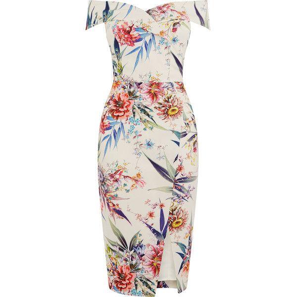 26826b7b5864 CITRUS FLORAL BARDOT DRESS ($105) ❤ liked on Polyvore featuring dresses,  flower print dress, floral design dresses, floral-print dresses, floral  printed ...