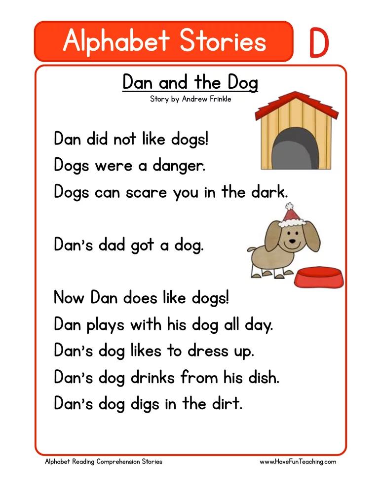 Alphabet Stories Letter D Reading Comprehension Worksheet Reading  Comprehension Kindergarten, Kindergarten Reading, Phonics Reading