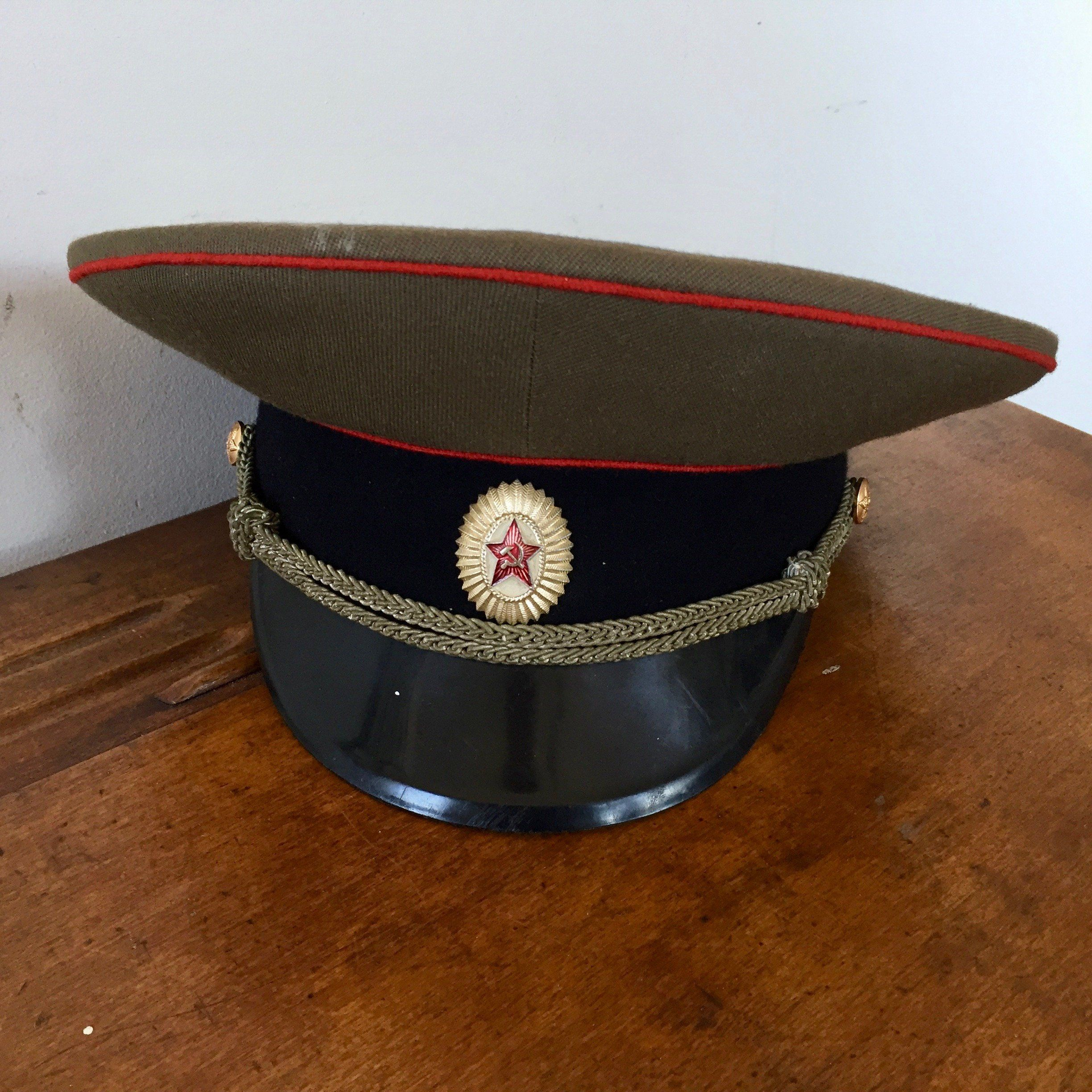 Vintage Russian Military Hat W Hammer And Sickle Hat Badge Ussr Visor Hat Russian Army Officer Cap Red Army Hat Field Visor M69 Army Hat Visor Hats Military Hat