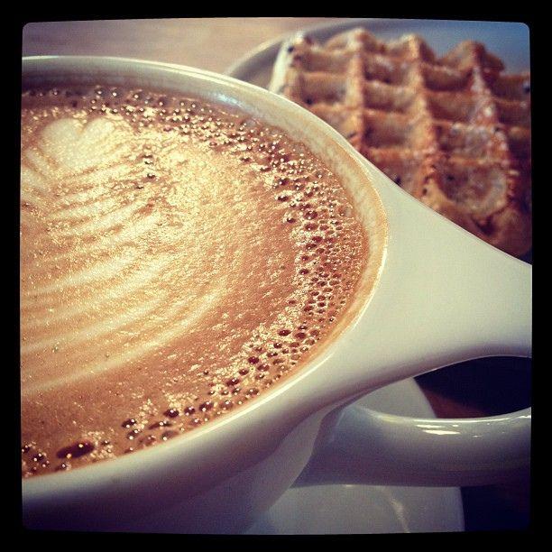 Latte and Belgian Waffle