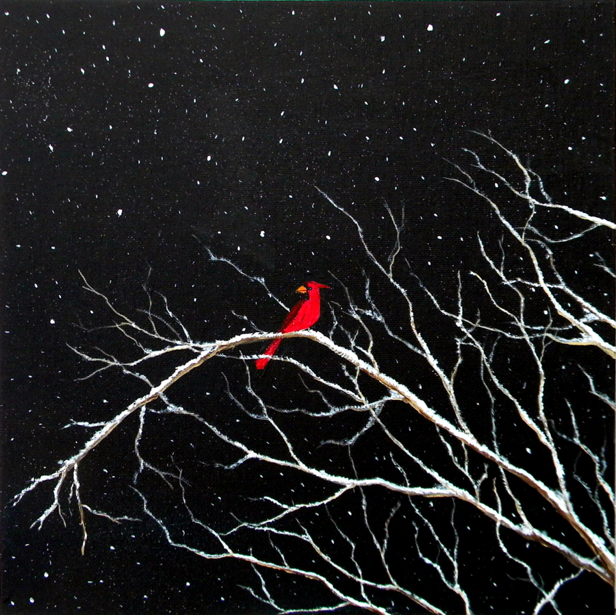 Cardinal in snow on white tree branches with black canvas painting by blablover5 on deviantart