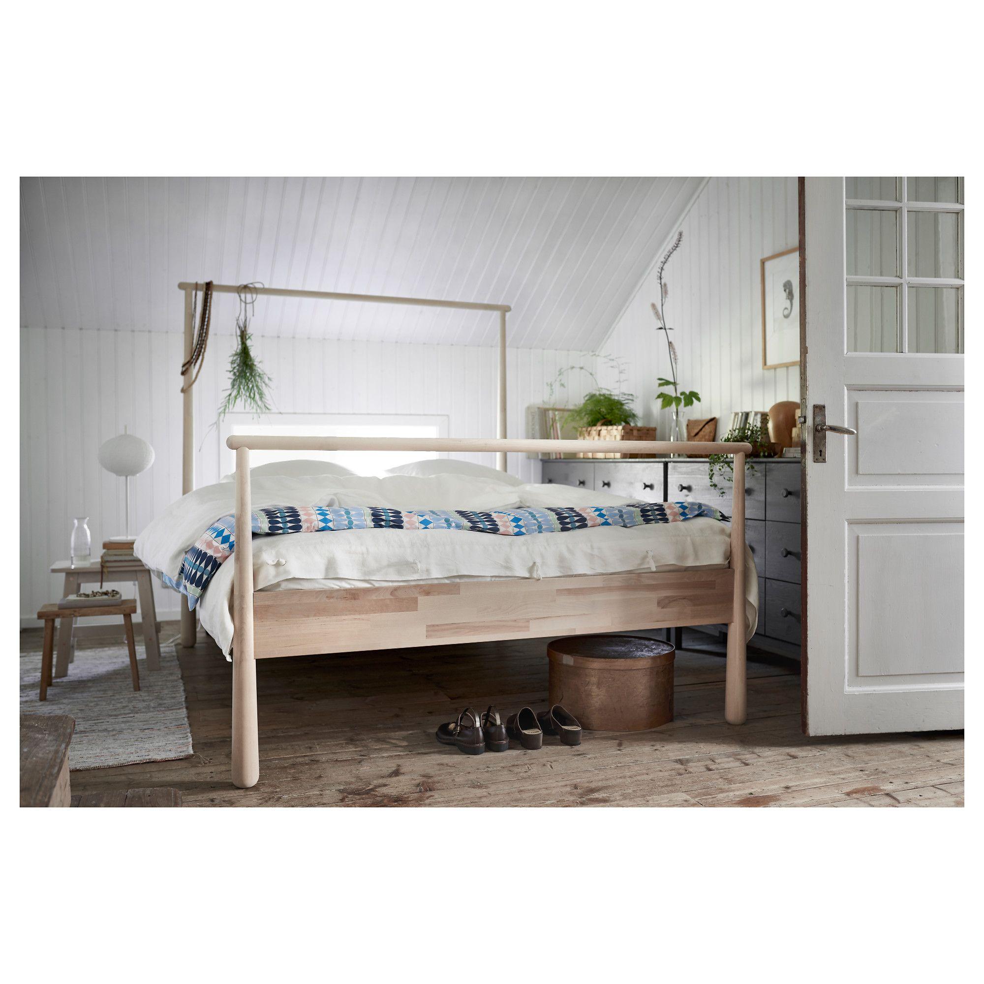 GJÖRA Rama łóżka brzoza 160x200 cm Łóżka, Pomysły ikea