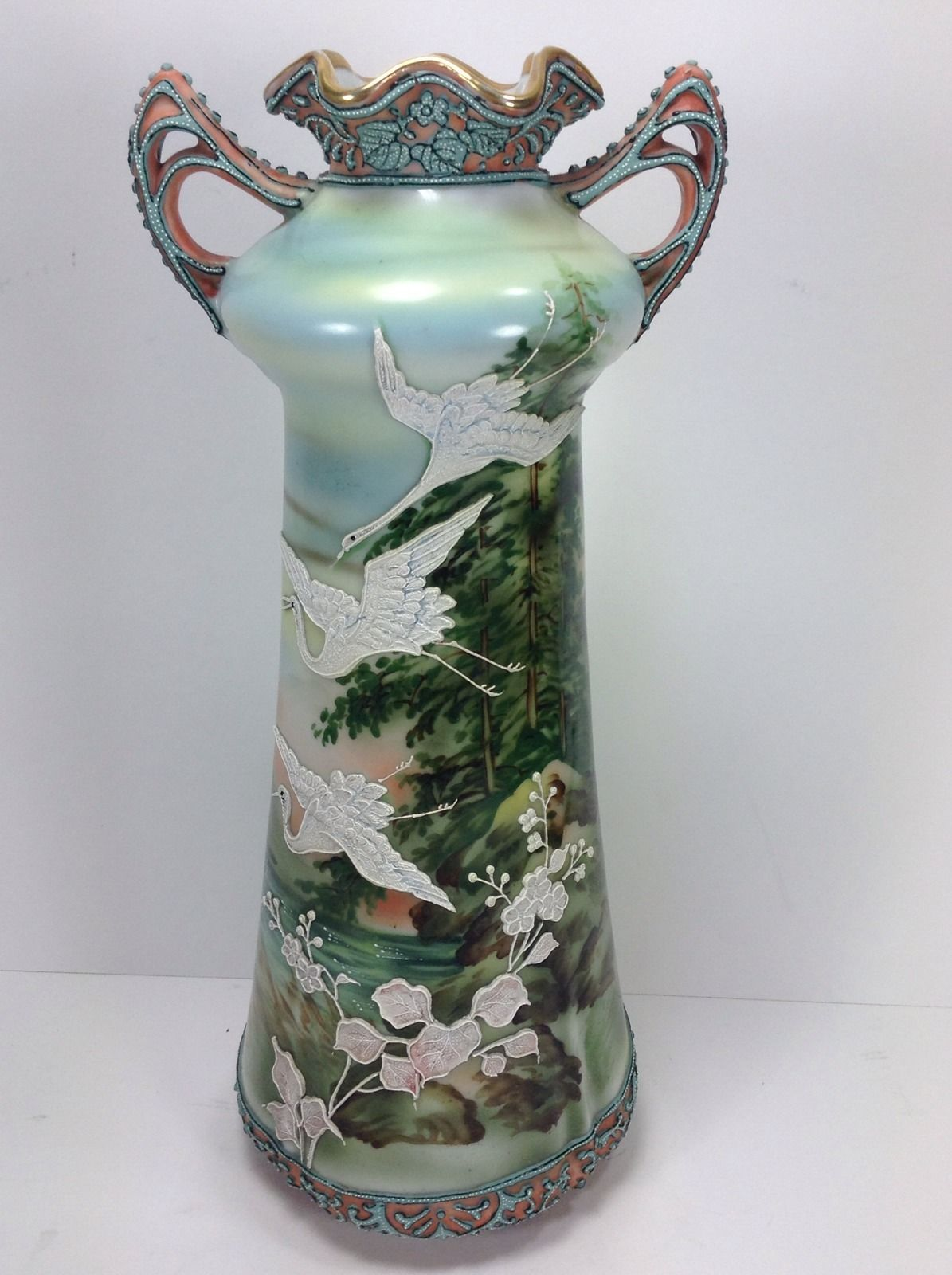 Antique nippon moriage vase flying geese swan birds rare 12 lake antique nippon moriage vase flying geese swan birds rare 12 lake landscape reviewsmspy