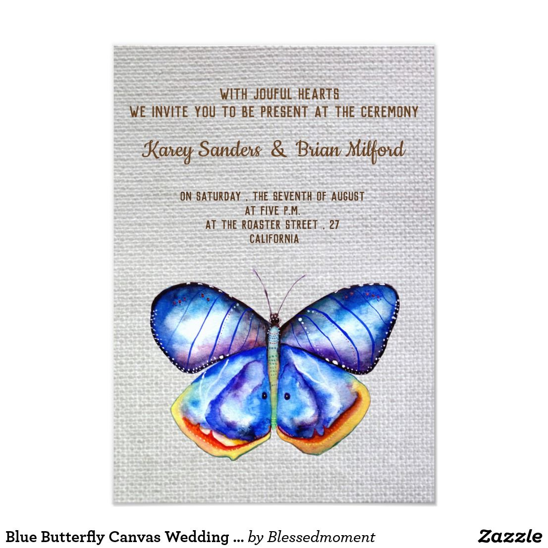 Blue Butterfly Canvas Wedding Invitation | Awesome Wedding ...