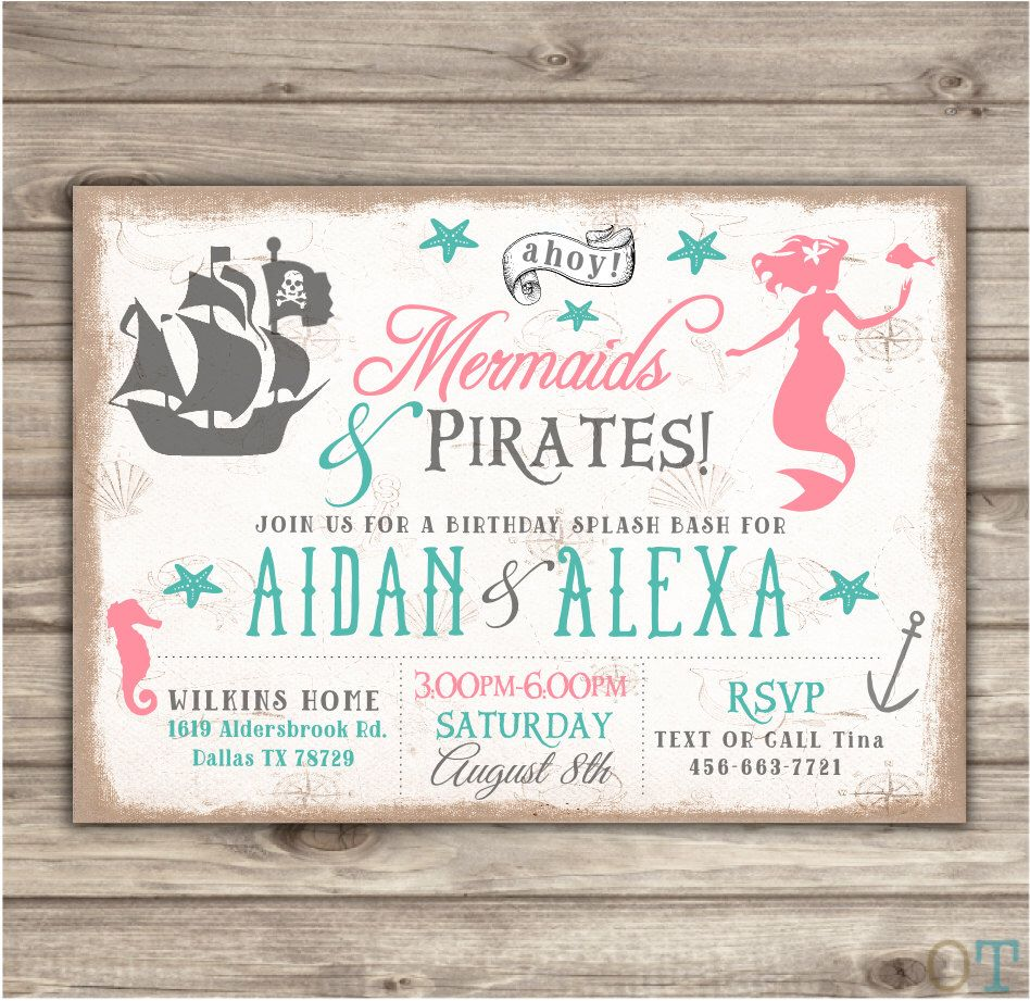 Mermaid and Pirates Birthday Invitations Swim Pool Party Boy girl ...