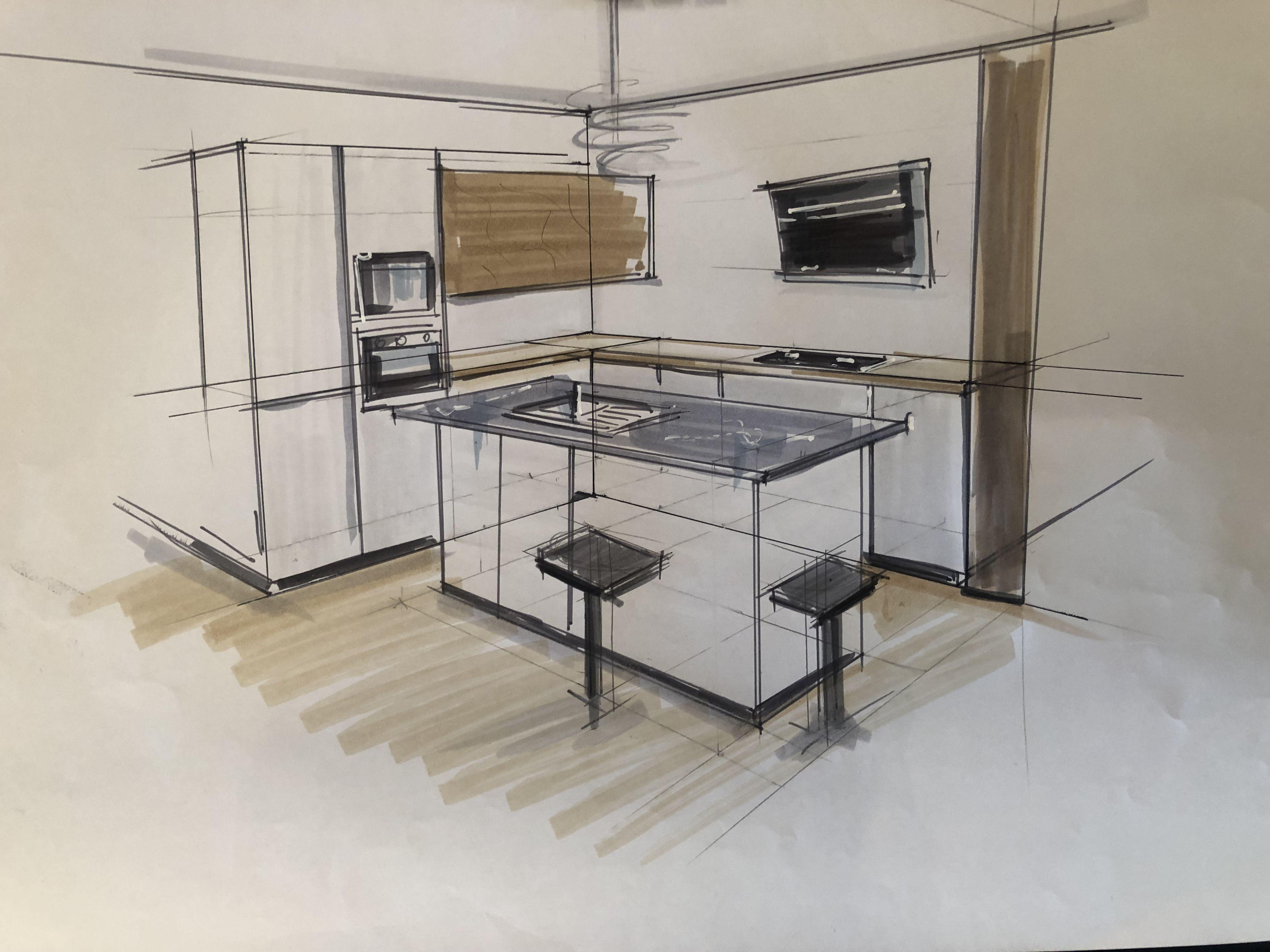 Rough Croquis En Perspective Cuisine Moderne Ilot Central En 2020 Croquis Architecture Dessin Perspective Dessin Architecture