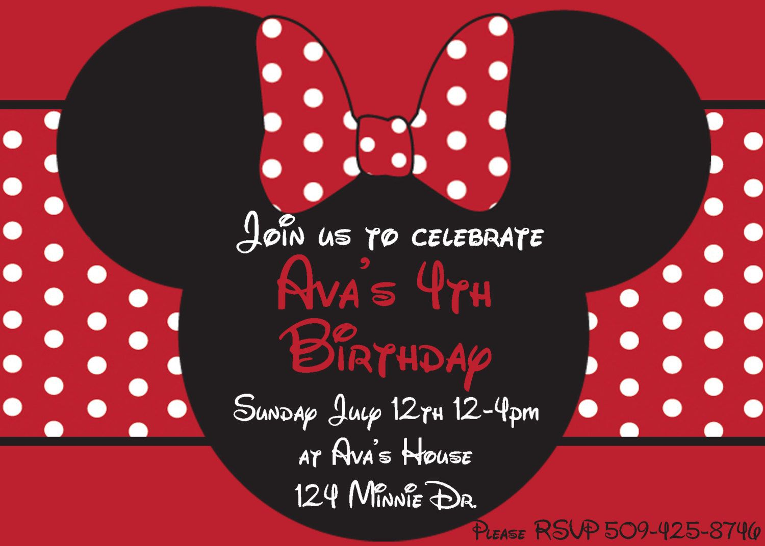 diy minnie mouse red printable birthday party invitation pink, invitation samples