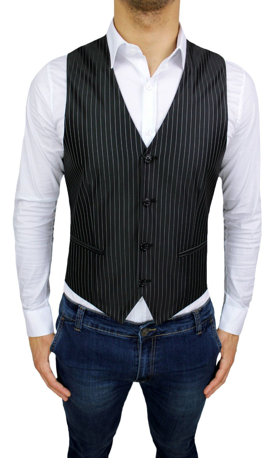 Vest Man Diamond Black Pinstriped Sleeveless Waistcoat Striped New Cotton Ebay Mens Vest Waistcoat Vest