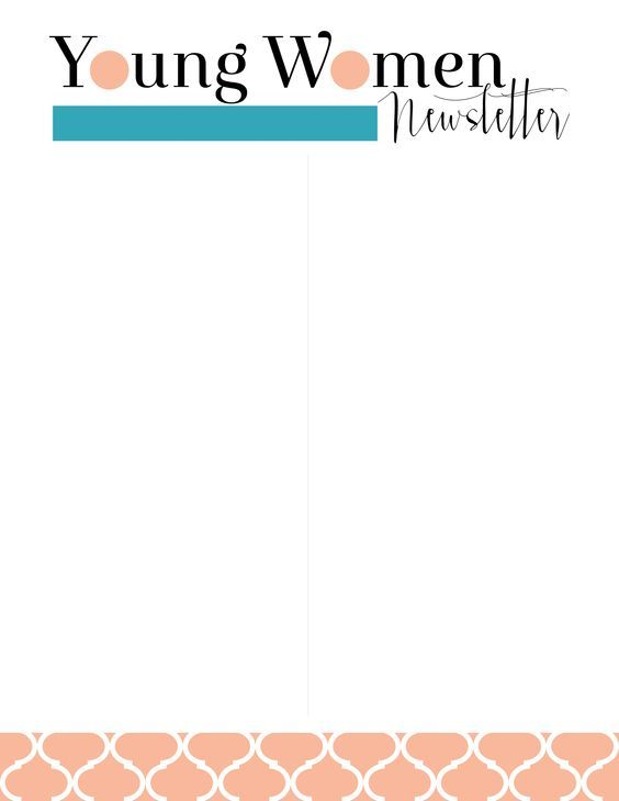 Young Women Values Now Collection Newsletter Templates Free