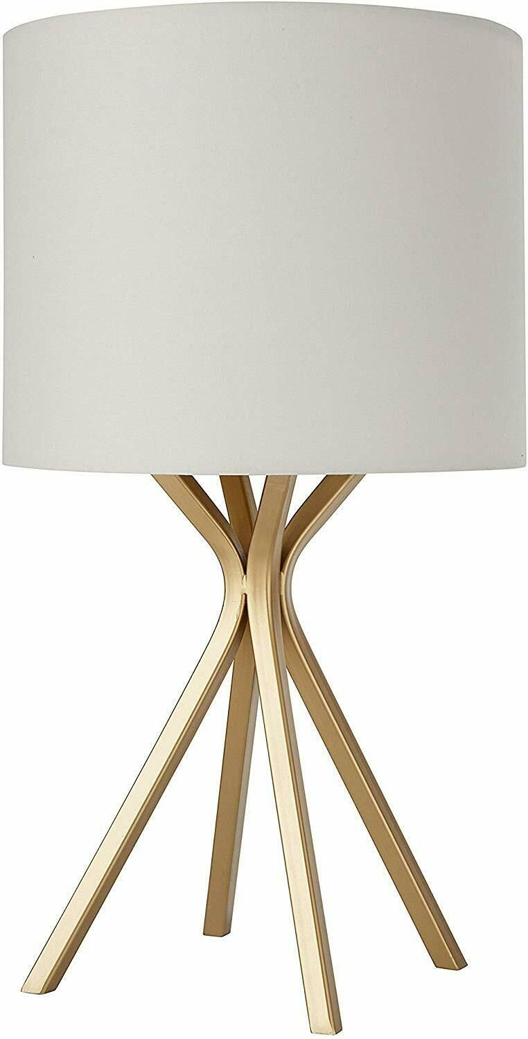 Details About Rivet Gold Bedside Table Desk Lamp With Light Bulb