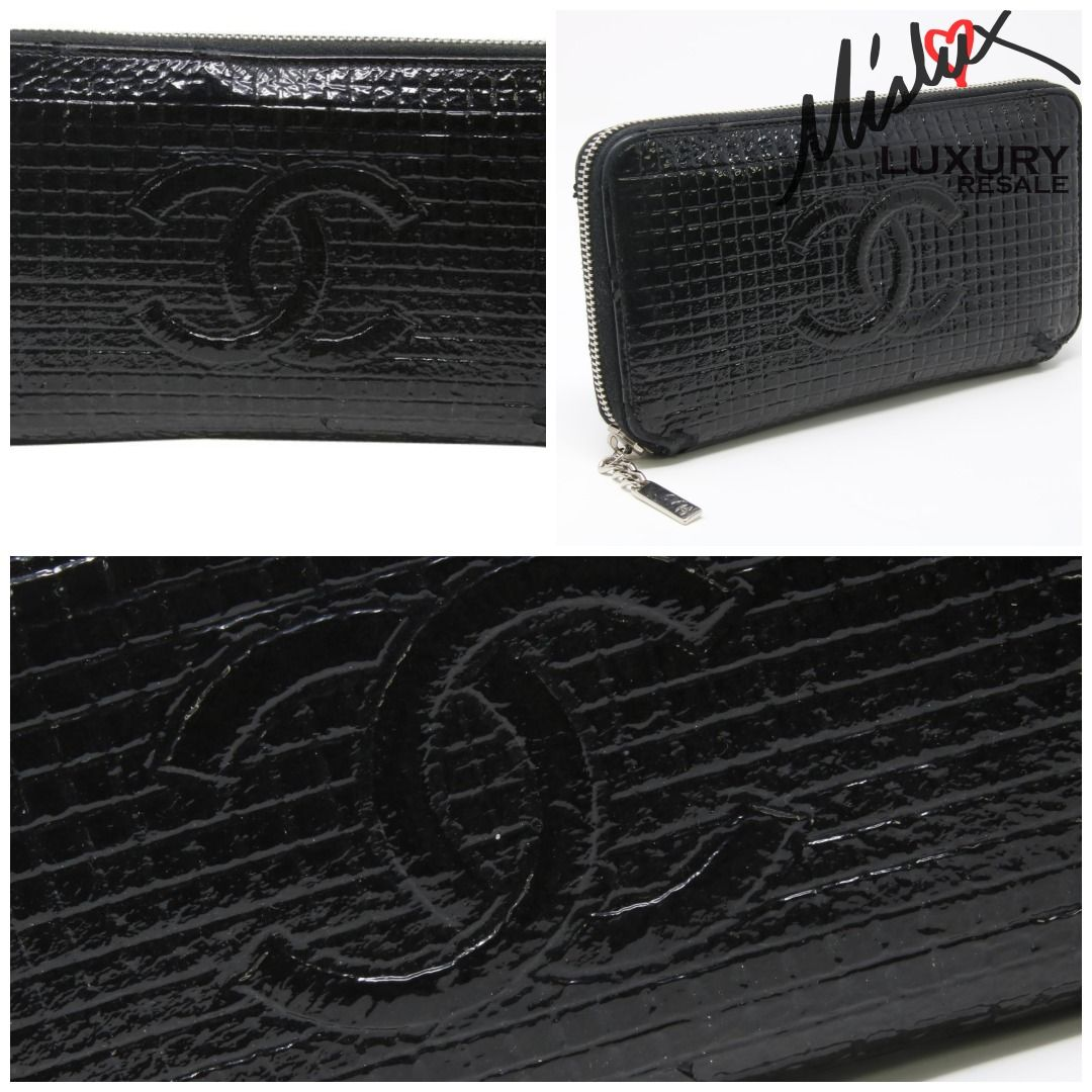 93458e5d283d26 Chanel Patent Black Leather Micro Chocolate Bar Long Zip Wallet #lv  #givenchy #hermes #versace #downey #consignment #supreme #prada #birkin  #fashionblogger