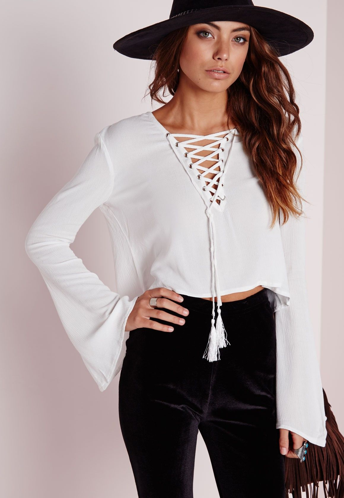 e94160b59384fa Bell Sleeve Tie Up Blouse White - Bell - Sleeve - Tops - Missguided ...