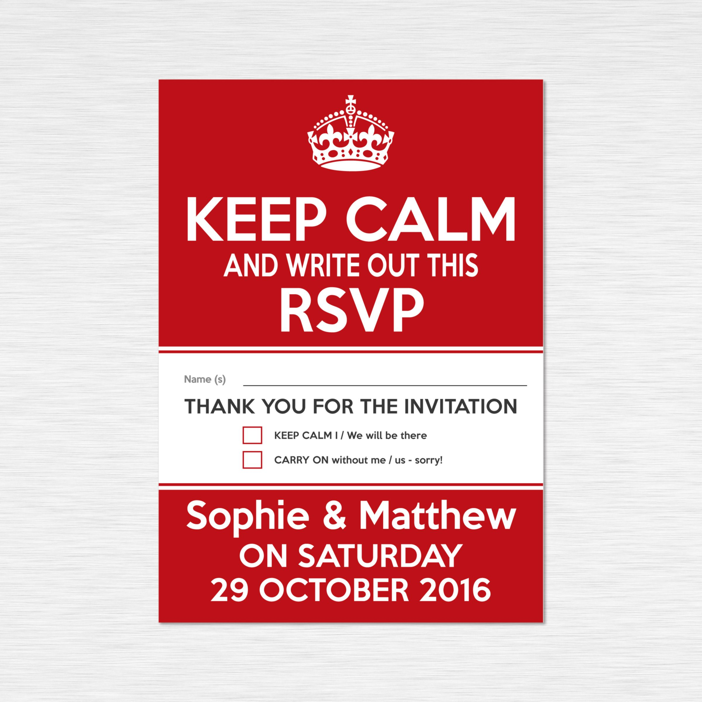 Matching RSVP - double sided postcard style. | Classic \'Keep Calm ...