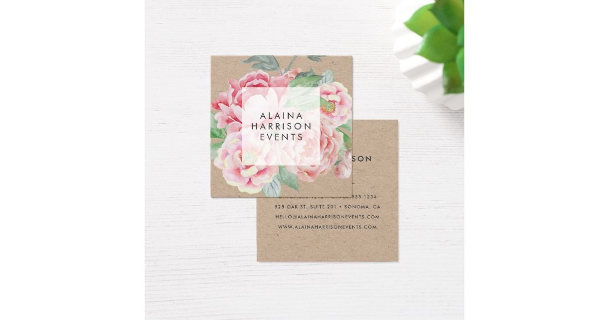 Elegant vintage style floral kraft paper business cards in a unique elegant vintage style floral kraft paper business cards in a unique square shape feature a posy reheart Image collections