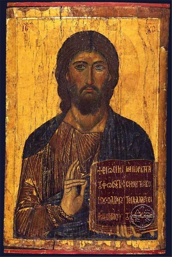 Icon of Christ Pantocrator the Word Logos Art byzantin