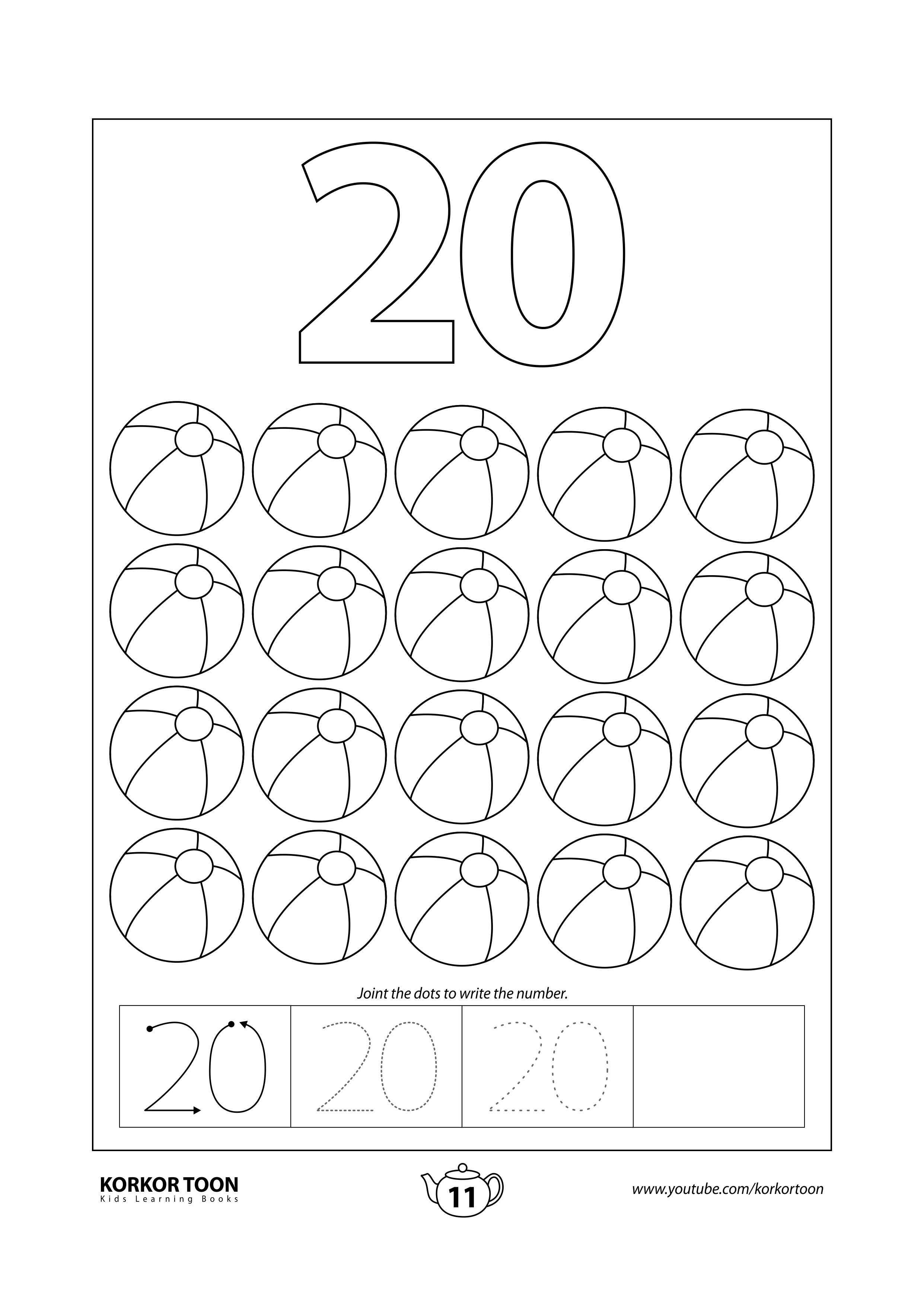 Numbers Coloring Book For Kids Number 20 Coloring Books Kids Coloring Books Printables Free Kids