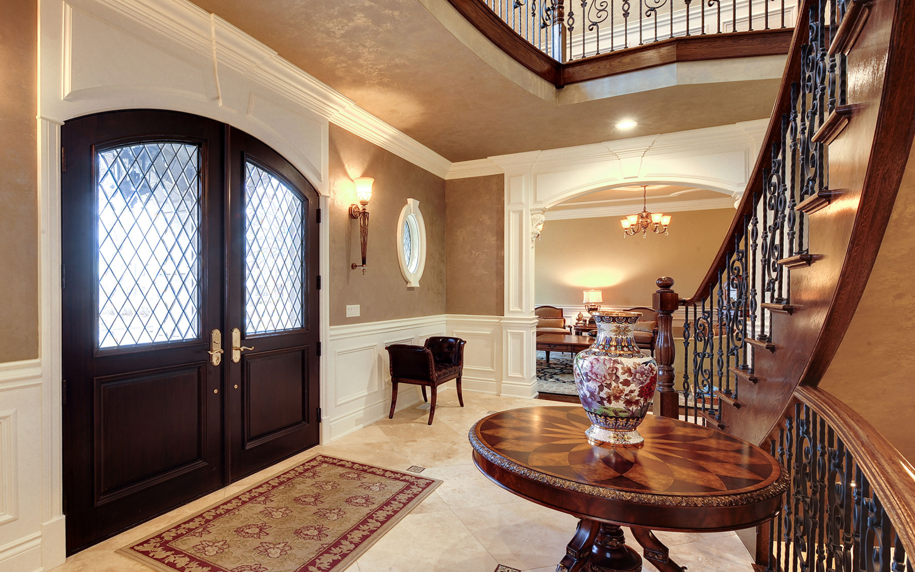 Home interior view custom solid mahogany wood double door with transom and clear glass
