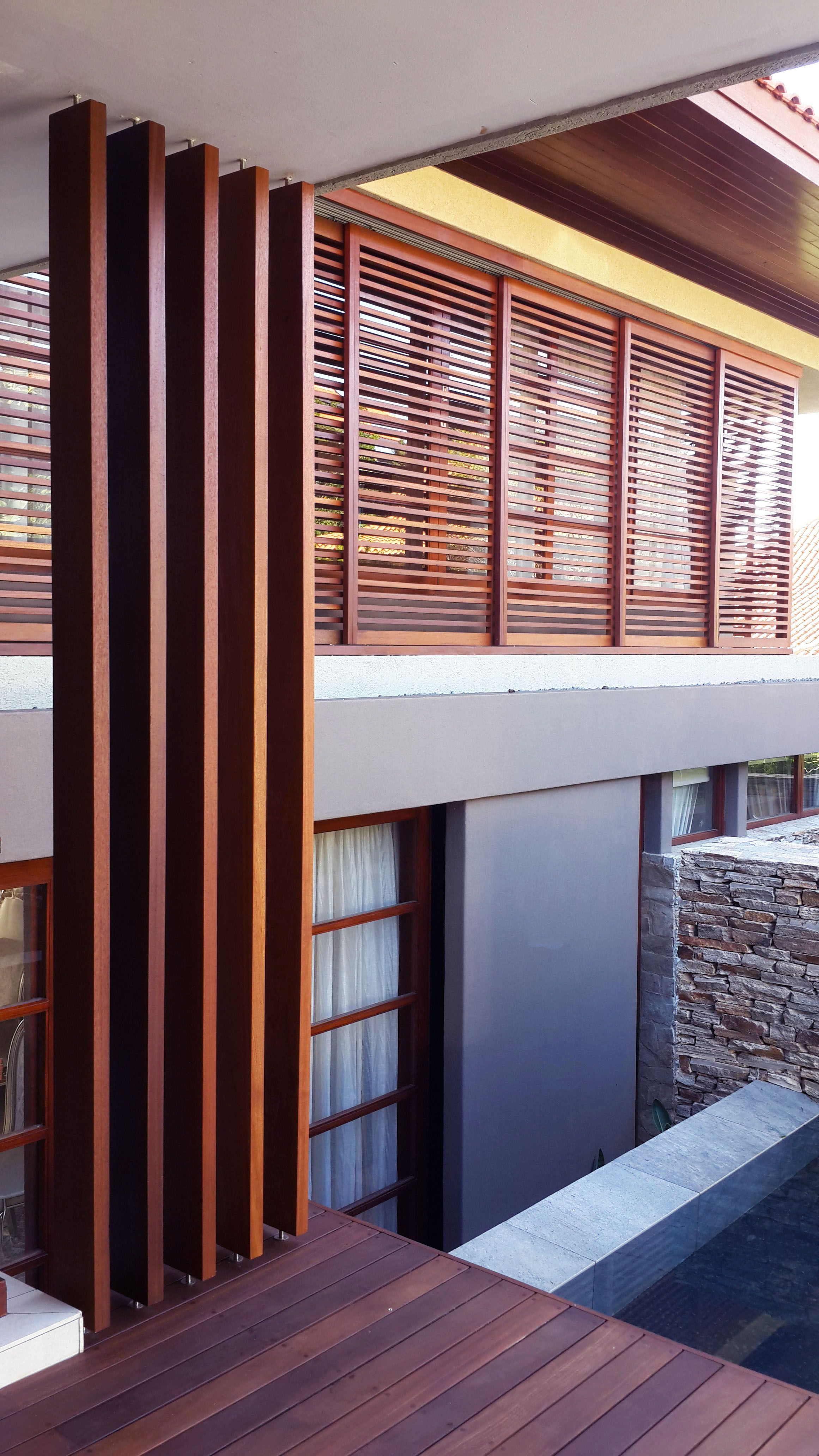 timber screen vertical fin detail zimbali kzn north coast for