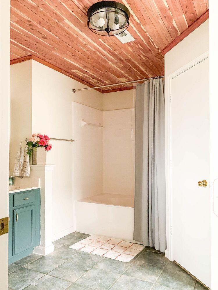 Diy Cedar Lined Bathroom Ceiling Bathroom Ceiling Bathrooms Remodel Small Bathroom