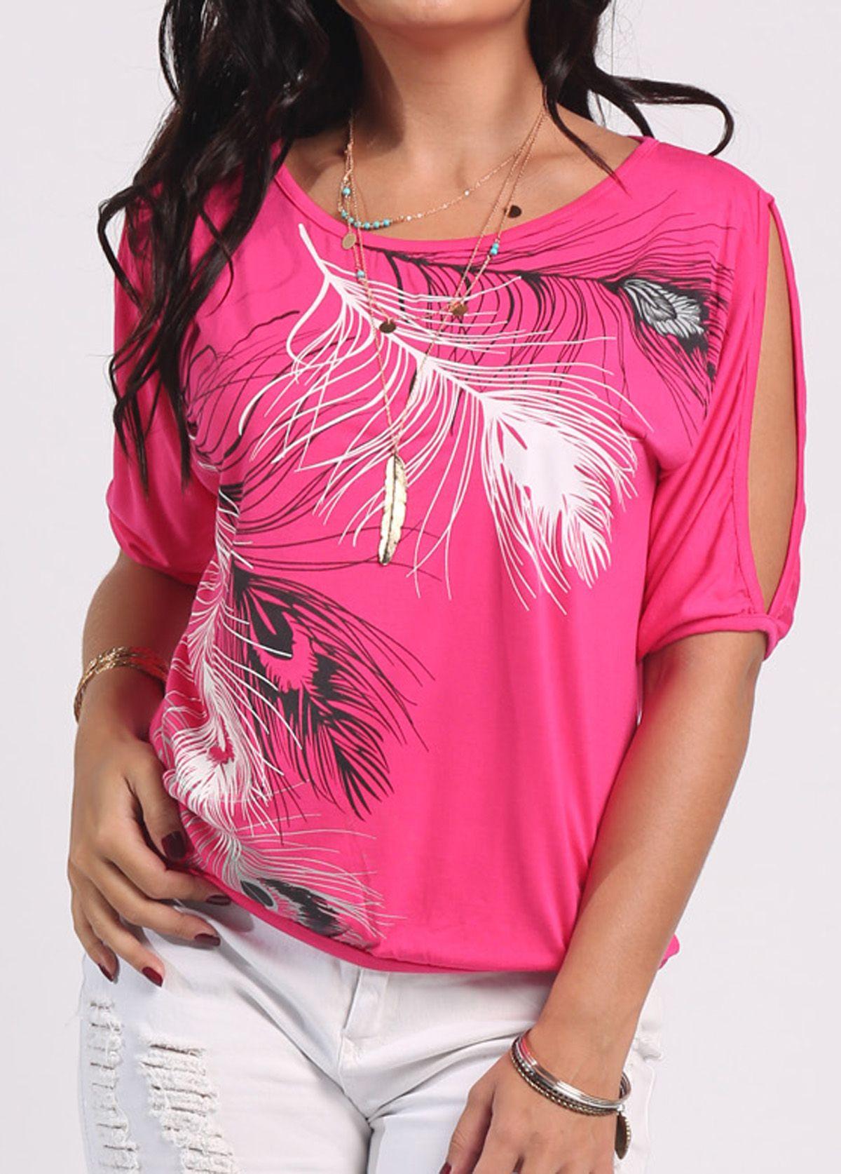 3c0c42e90a4c34 Cold Shoulder Feather Print Watermelon Red T Shirt