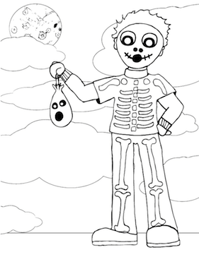 kids will love coloring in this drawing of a boy in a