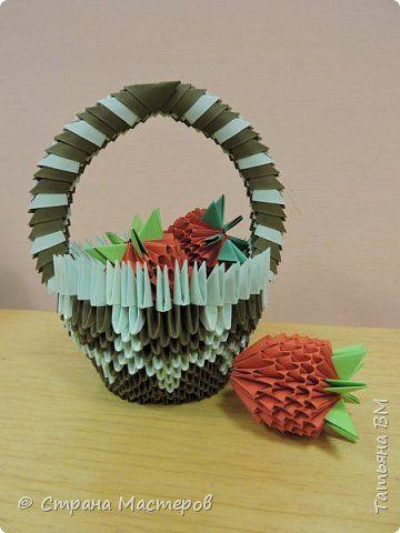 Корзинка с клубникой фото 1 | Модульное оригами, Оригами ...