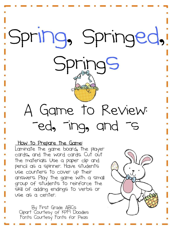 Spring Esl Workshett An Inflectional Endings