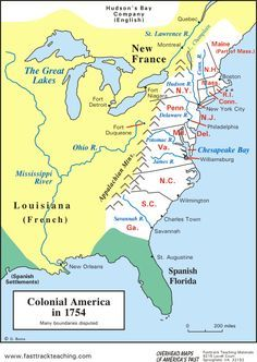 map Colonial America in 1754 British 13 Colonies  geography