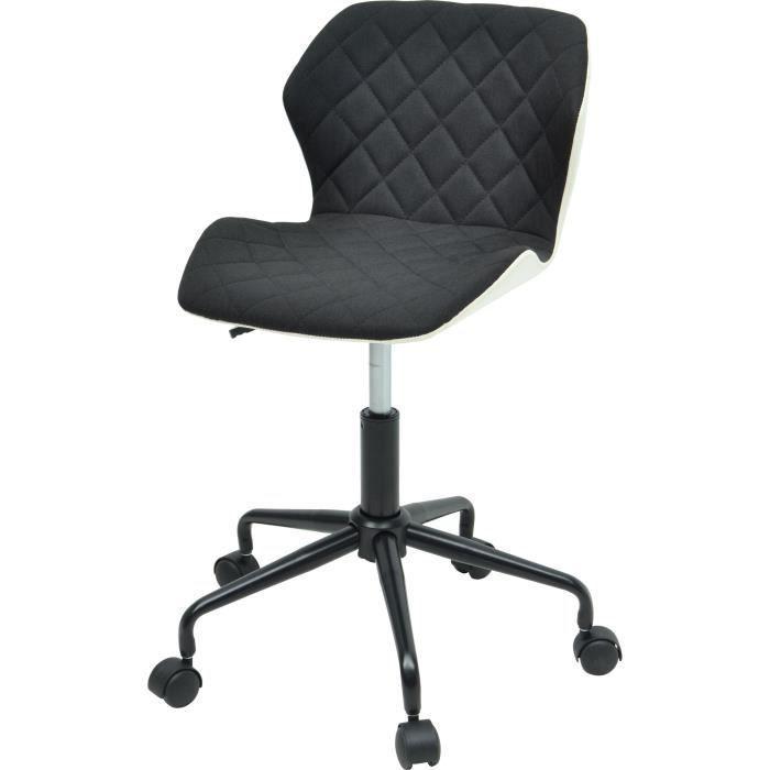 Squate Chaise De Bureau Tissu Et Simili Noir Style Industriel
