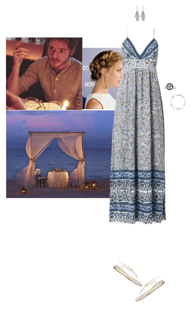"""""""Honeymoon, Day 2: Having a romantic dinner on their private beach"""" by hrhprincessamelia ❤ liked on Polyvore featuring Eres, Aventura, René Caovilla, Rebecca Taylor, Tiffany & Co. and Anna Beck"""
