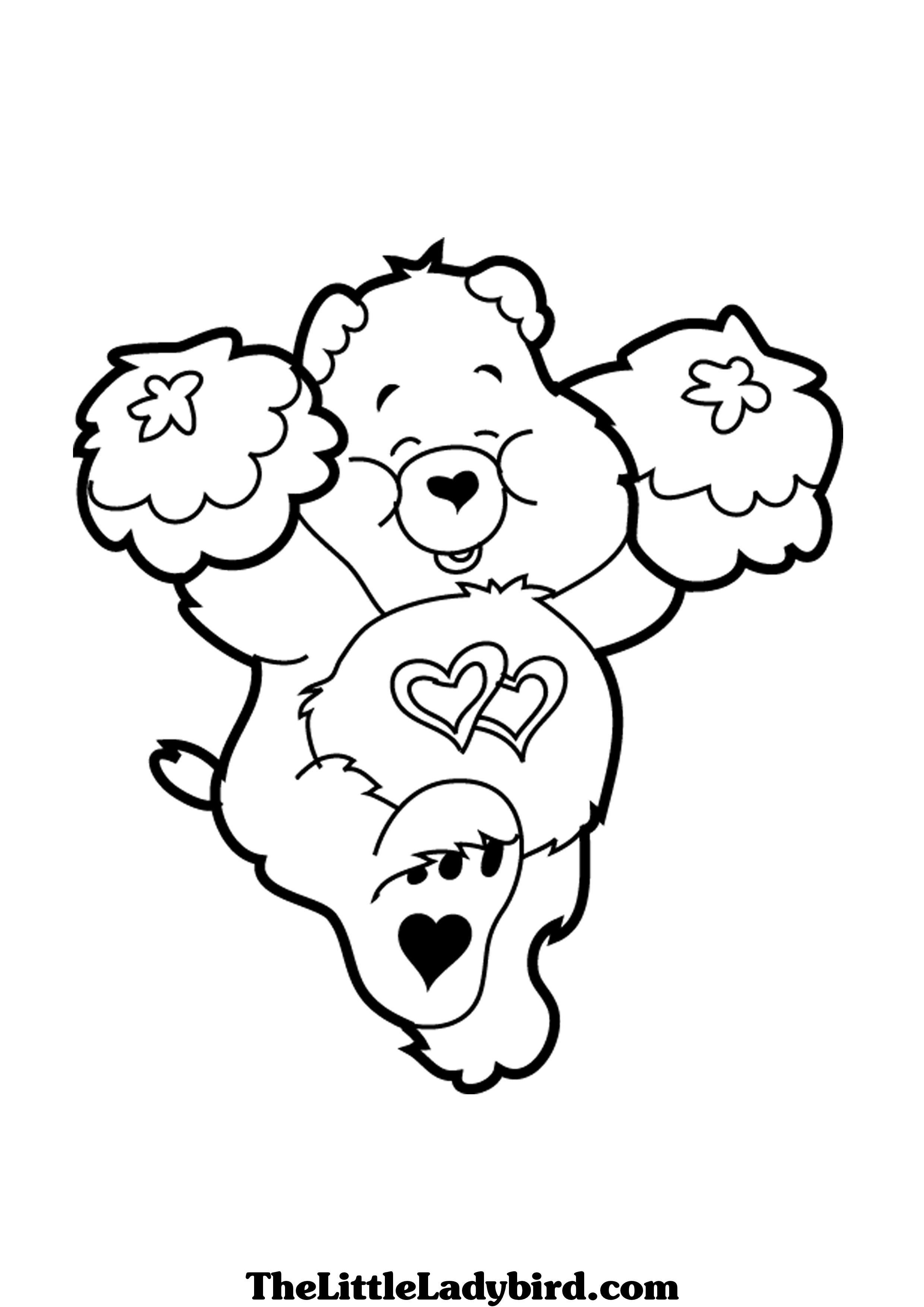 care bears swinging on star coloring printable page coloring