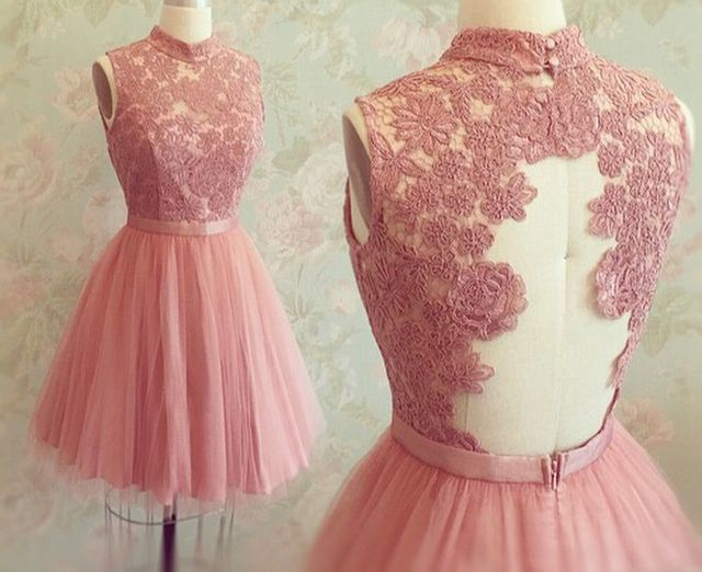 Custom Made Rose Pink Tulle High Neck Cocktail Dresses With Lace Appliques Bodice Short Party Dress #lacehomecomingdresses