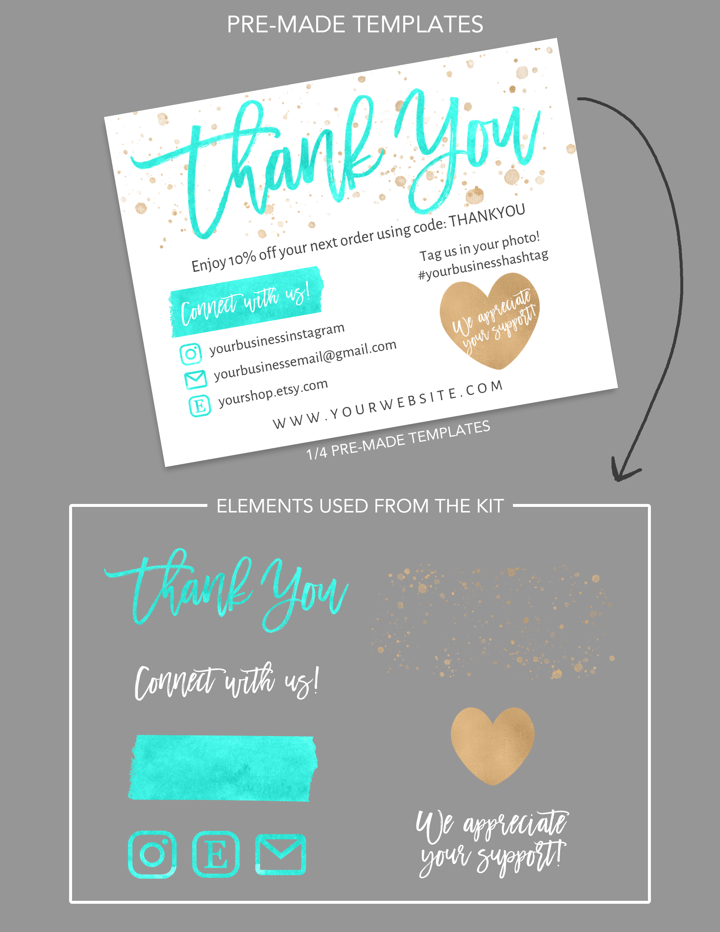 Diy Printable Thank You Card For Your Order Teal Gold Etsy Printable Thank You Cards Business Thank You Cards Small Business Cards
