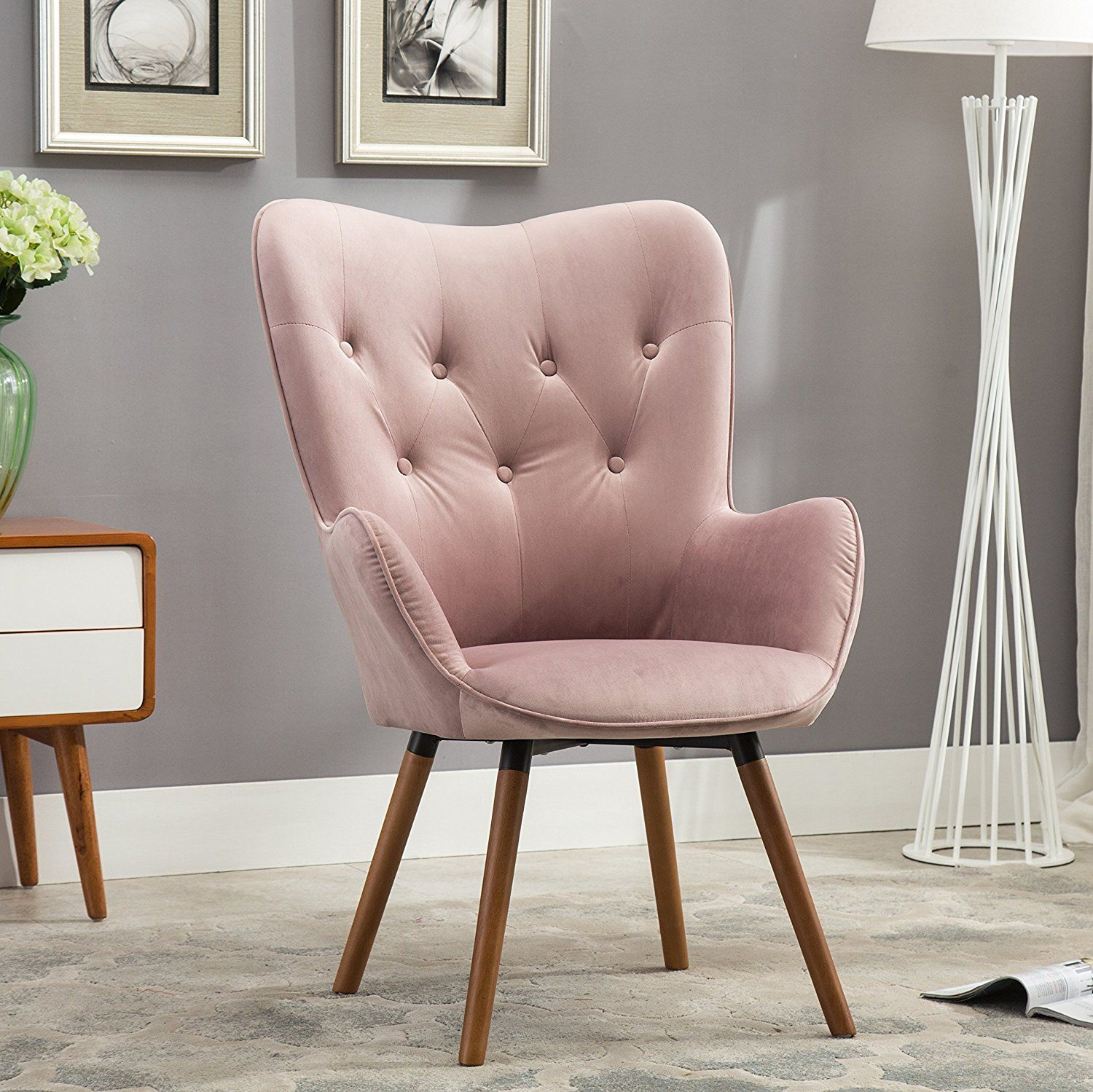 Amazon.com: Roundhill Furniture Doarnin Contemporary Silky Velvet Tufted  Button Back Accent Chair,