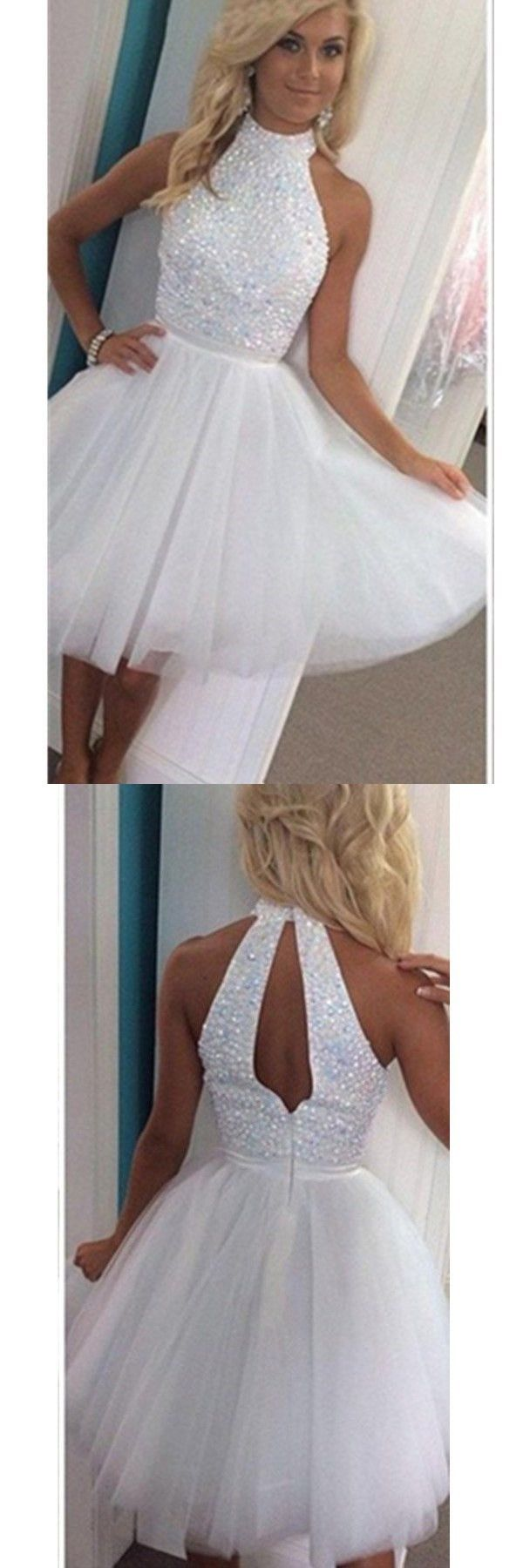 White Beading Homecoming DressHalter Short Prom Dress Puffy Skirt