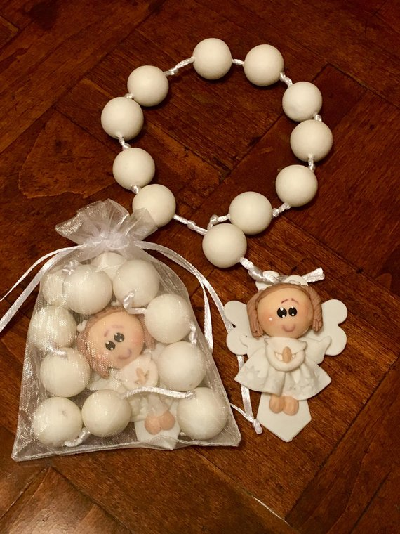 12 Ivory Angel Girl Rosary Favors Baptism First Communion