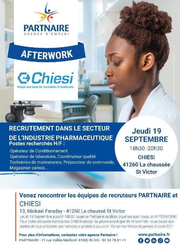 Partnaire Blois Organise Un Afterwork Recrutement Pour L Entreprise Chiesi Le 19 Septembre Prochain Grou Recrutement Technicien De Maintenance 19 Septembre