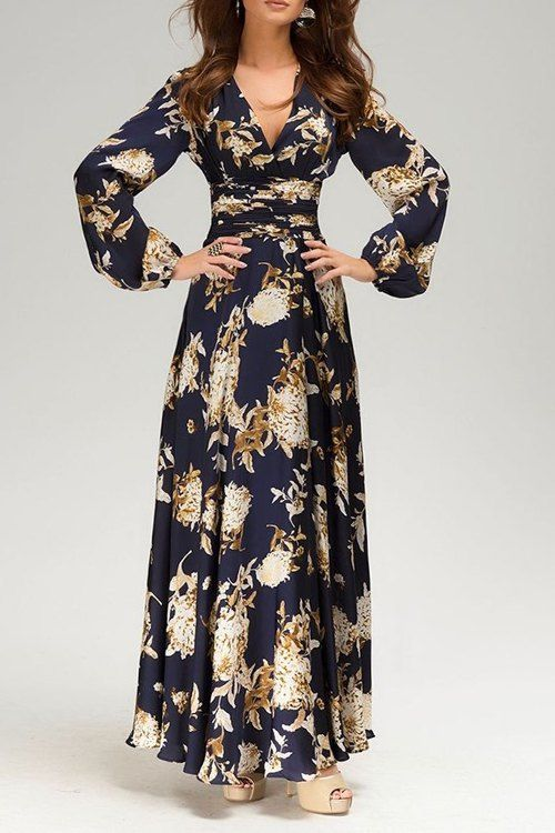 3d88550276 V Neck Floral Print Long Sleeve Maxi Dress | Drama queen beauty ...