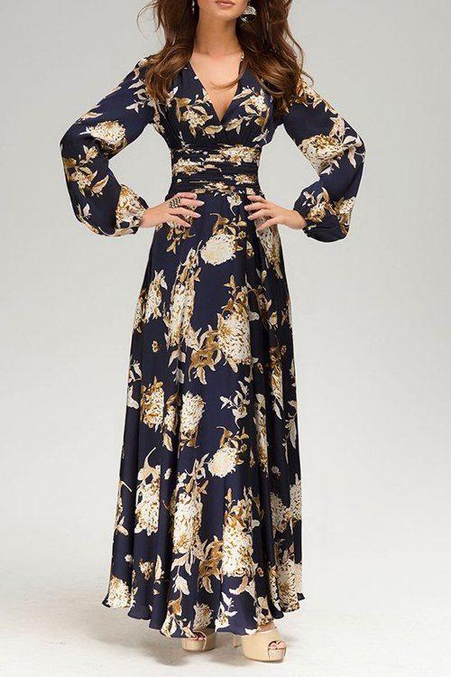 55153f1886 V Neck Floral Print Long Sleeve Maxi Dress | Drama queen beauty ...