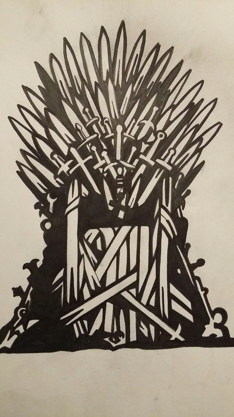 Game of thrones iron throne stencil out of my for Iron throne painting