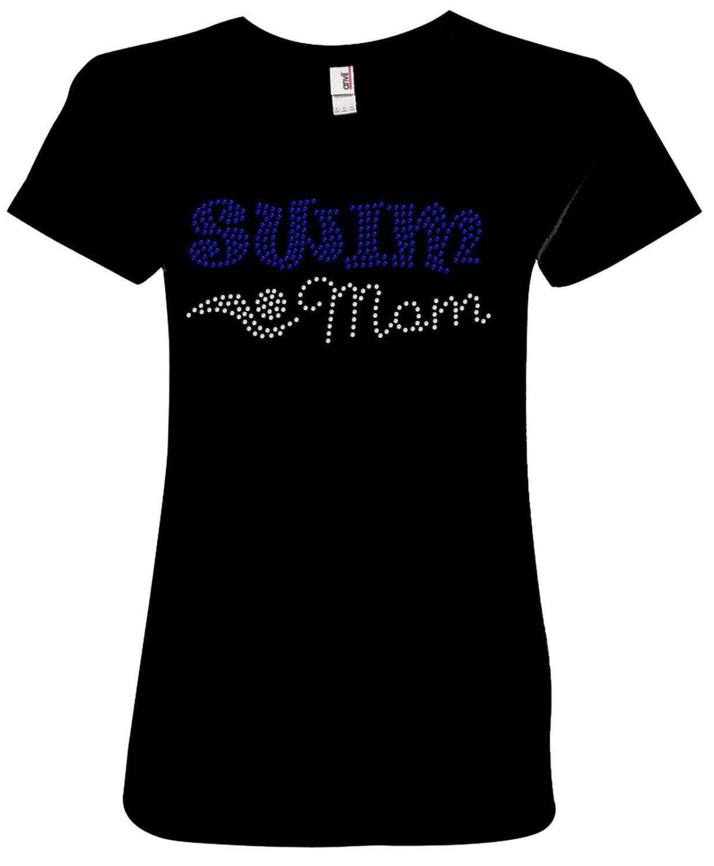 "Womens ""Swim Mom"" Rhinestone Ladies Shirt by JuldenDesigns on Etsy"