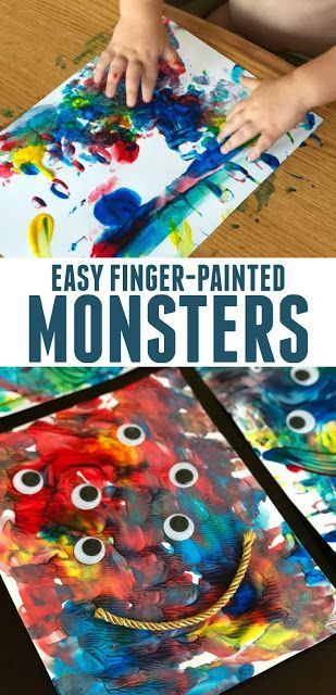 Simple Finger-painted Monsters for Toddlers