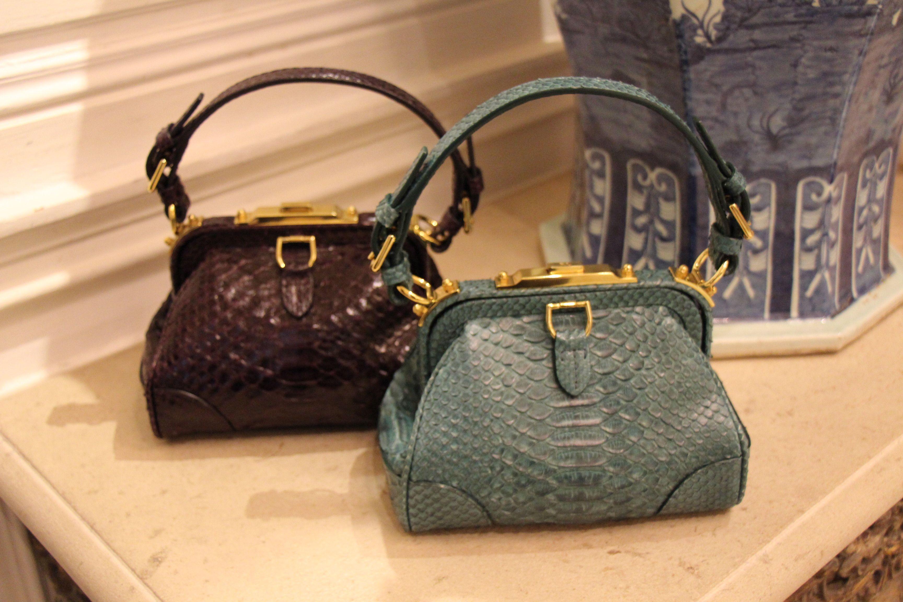 Ralph Lauren madison bag snakeskin turquoise or