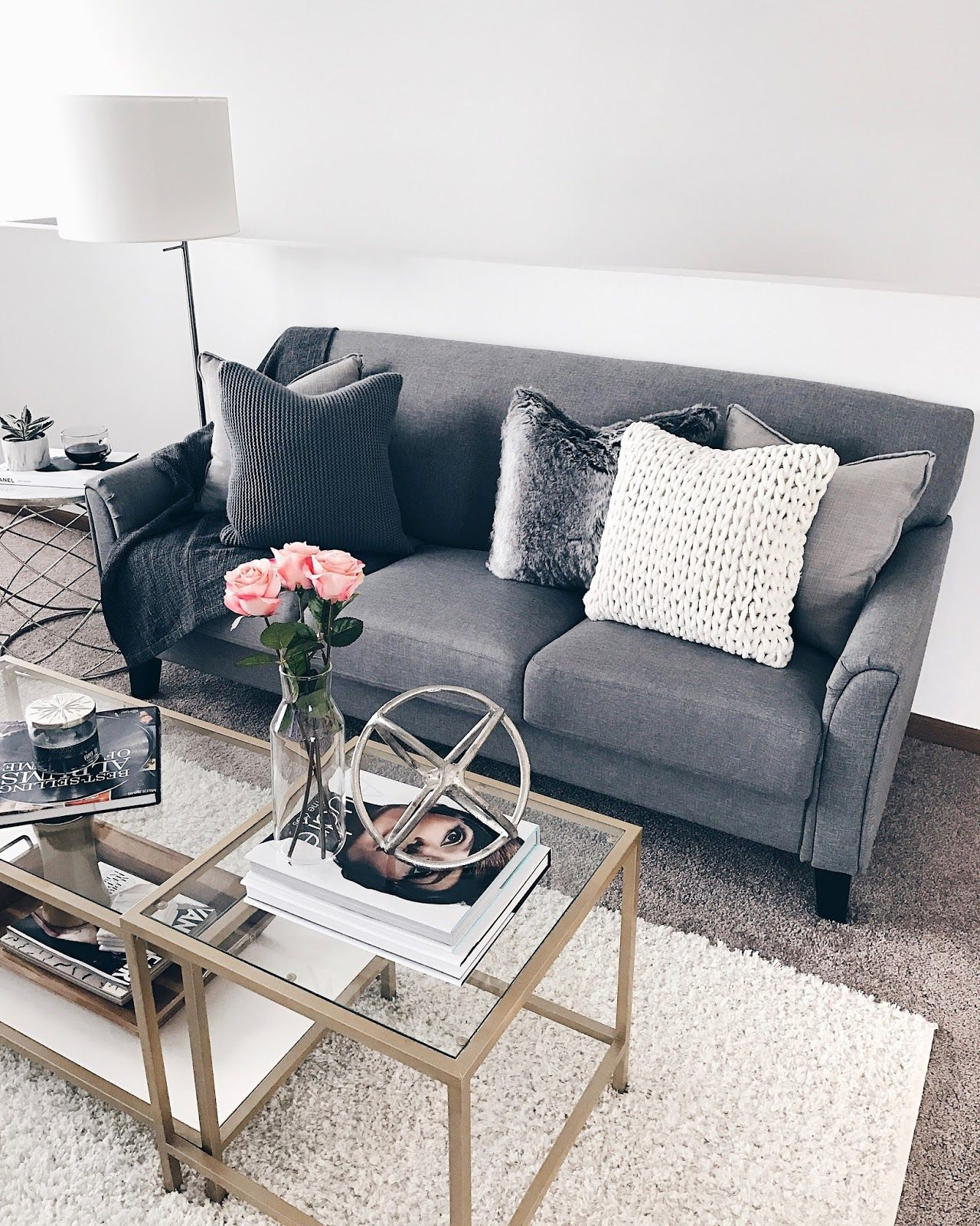 Cozy Pillows Grey Couch Fashionably Kay Grey Couch Decor